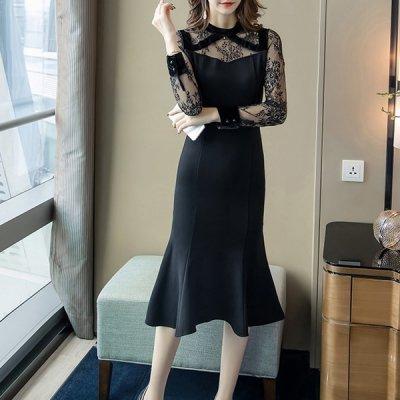 韓国ワンピース❤マーメイドシルエットが可愛いシアー袖ドレス 963433