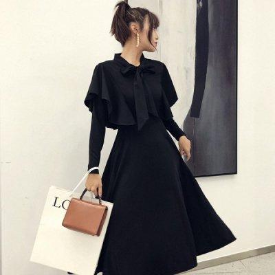 韓国ワンピース❤マルチに使えるブラックカラーワンピース 963434