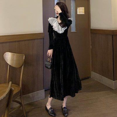 韓国ワンピース❤レース襟が可愛いベルベットワンピース 963437