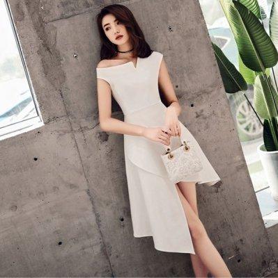 韓国ワンピース❤アシンメトリーデザインが可愛いパーティードレス 963439