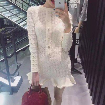韓国ワンピース❤裾フリルが可愛いショート丈ニットワンピース 963460