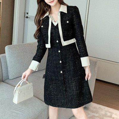 韓国セットアップ❤ツイード素材ジャケット&ワンピースの可愛いツーピース 963468