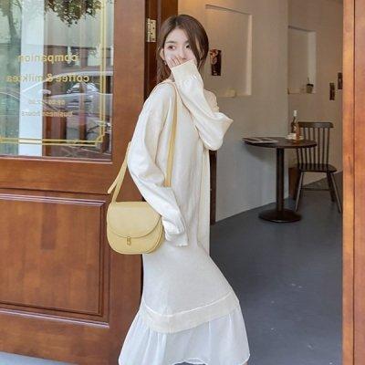 韓国ワンピース❤裾の切替が可愛いレイヤード風ニットワンピース 963480