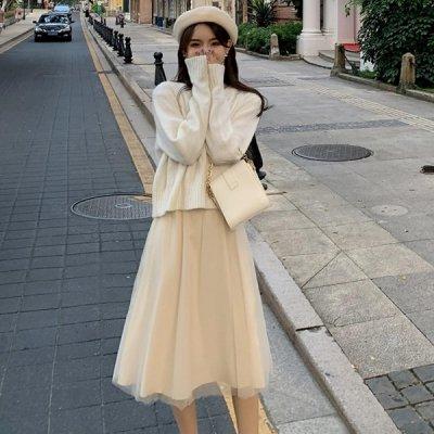 韓国セットアップ❤ショート丈ニット&キャミワンピの可愛いツーピース 963481