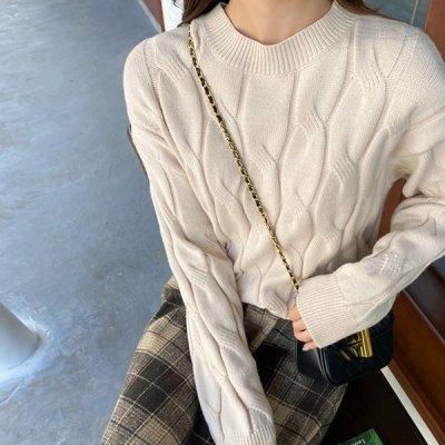 韓国セットアップ❤ニット&チェック柄フレアスカートの可愛いツーピース 963486