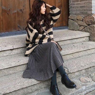 韓国セットアップ❤ゆったりニット&プリーツスカートの可愛いツーピース 963487