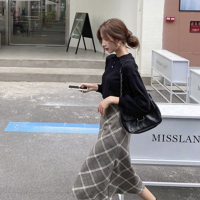 韓国セットアップ❤ニット&チェック柄スカートの可愛いツーピース 963489