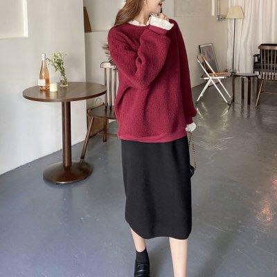 韓国セットアップ❤ボアプルオーバー&ニットスカートの可愛いツーピース 963490