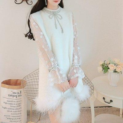 韓国ワンピース❤冬のデートにおススメ! 裾のファーが可愛いミニ丈ワンピース 963498