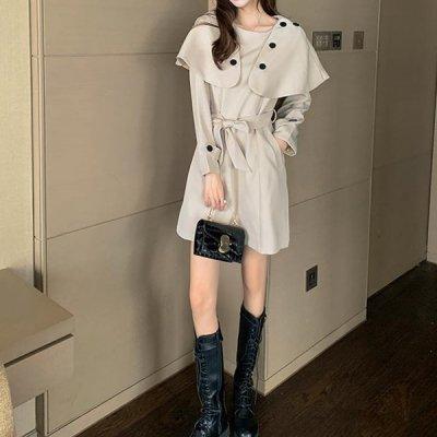 韓国ワンピース❤取り外し可能な襟が目を惹く可愛いミニ丈ワンピース 963503