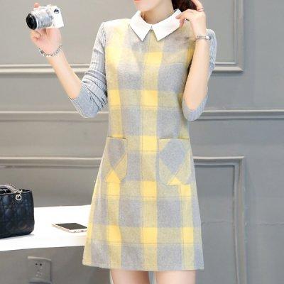 韓国ワンピース❤大人っぽいカラーが魅力のニット&ウールのコンビワンピース 963513