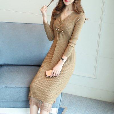 韓国ワンピース❤リブニットで細見えが叶う可愛い裾レースニットワンピース 963518