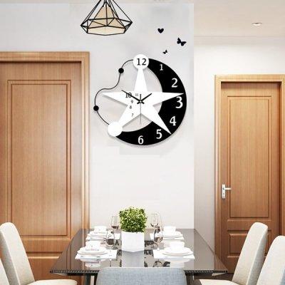 韓国掛け時計❤アンバランスの月と星のデザイン可愛い壁掛け時計 963561