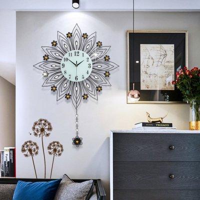 韓国掛け時計❤花モチーフの振り子が可愛い壁掛け時計 963563