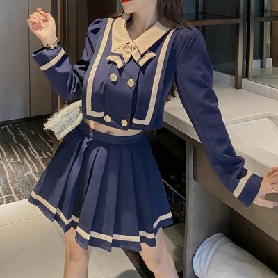 韓国セットアップ❤学生服デザインの可愛いツーピース 963575