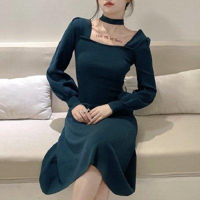 韓国ワンピース❤チョーカー付きの可愛いボリューム袖ニットワンピース 963601