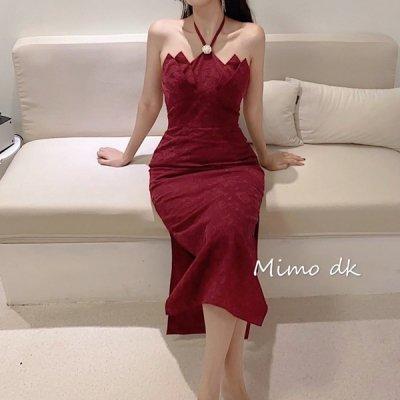 韓国ワンピース❤さりげない薔薇刺繍が可愛いスリット入りパーティードレス 963603