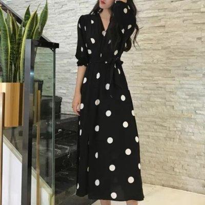 韓国ワンピース❤モノトーンドット柄の可愛いシャツワンピース 963613