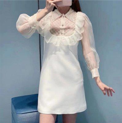 韓国ワンピース❤フリルが可愛いパール付き襟ワンピース 963617