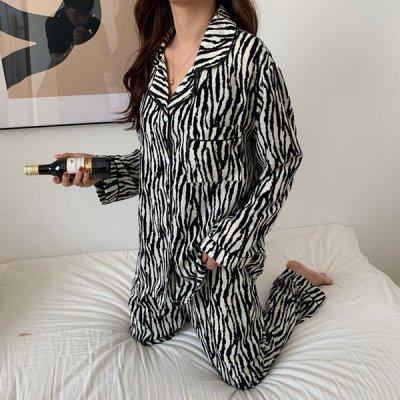 韓国ルームウェア❤カジュアルなゼブラ柄の可愛い2点セットパジャマ 963621