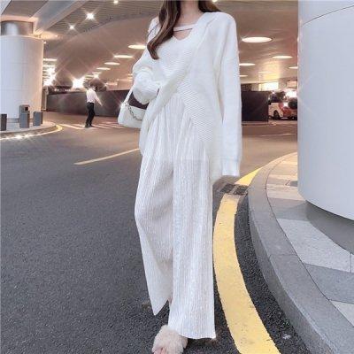 韓国スリーピース❤ルーズカーディガン&キャミソール&ワイドパンツの可愛いセットアップ 963627