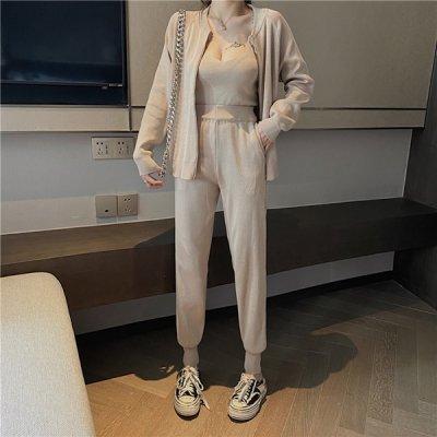 韓国セットアップ❤パーカー&キャミソール&パンツの可愛いスリーピース 963631