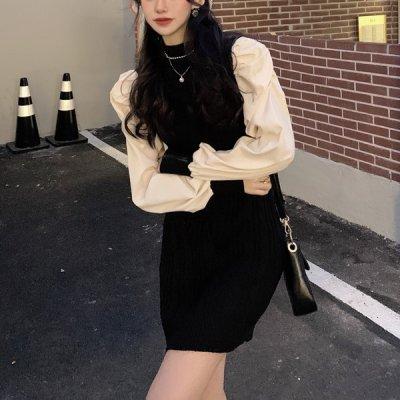 韓国ワンピース❤くしゅくしゅしたお袖が可愛いコンビワンピース 963643