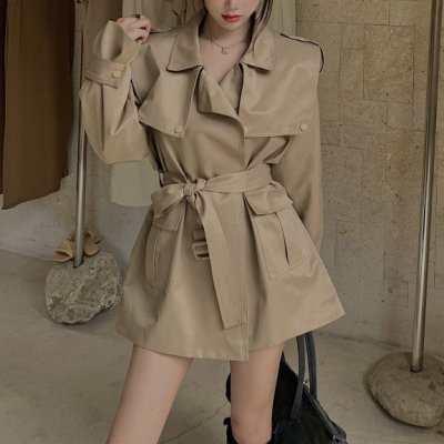 韓国アウター❤使い勝手の良い可愛いショート丈トレンチコート 963653