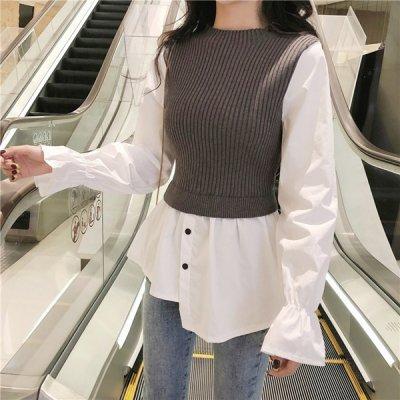 韓国トップス❤ニット&シャツ素材の可愛いコンビトップス 963660