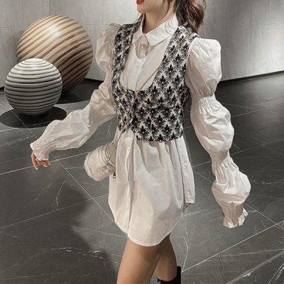 韓国セットアップ❤ニットベスト&オーバーサイズシャツの可愛いツーピース 963662