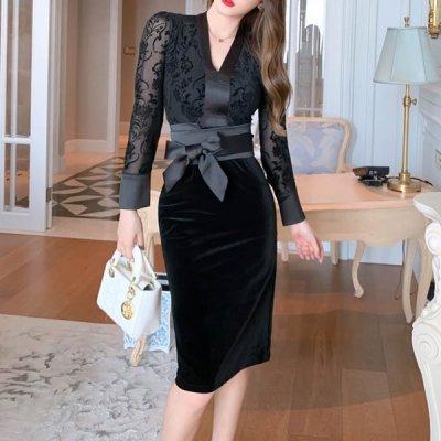 韓国ワンピース❤レースの透け感が上品なベルベット調の可愛いワンピースドレス 963675