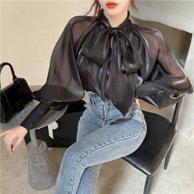 韓国トップス❤透け感とボリュームあるお袖がアクセントの可愛いブラウス 963681