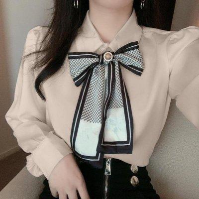 韓国トップス❤光沢感がエレガントな可愛いサテンブラウス 963683