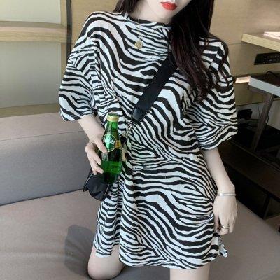 韓国トップス❤ゼブラ柄が可愛いオーバーサイズカットソー 963686