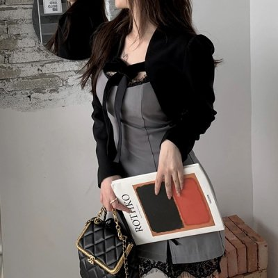 韓国セットアップ❤ボレロ&裾レースワンピースの可愛いツーピース 963694
