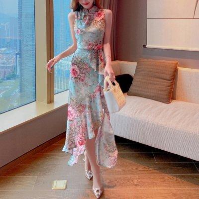 韓国セットアップ❤トップス&フィッシュテールスカートの可愛い花柄ツーピース 963699