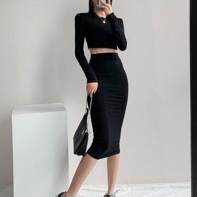 韓国セットアップ❤カットー&ペンシルスカートの可愛いツーピース 963702