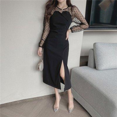 韓国ワンピース❤ドット柄のシアー袖が可愛いコンビワンピース 963709