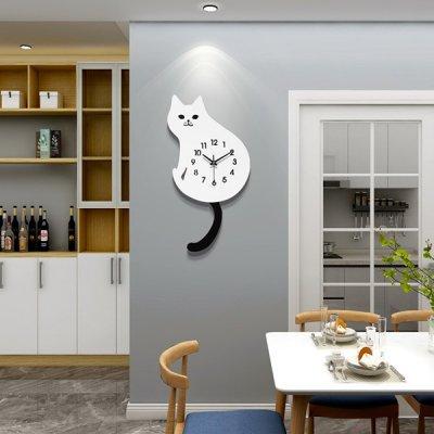 韓国掛け時計❤猫デザインの可愛い壁掛け時計 963711