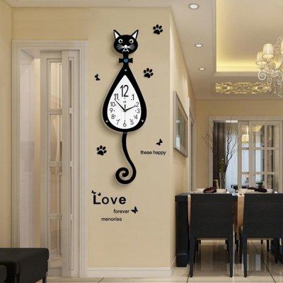 韓国掛け時計❤猫デザインの可愛い壁掛け時計 963712