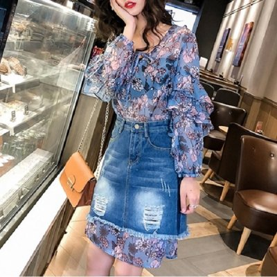 韓国セットアップ❤花柄シフォンブラウス&裾シフォンデニムスカートの可愛いツーピース 963718