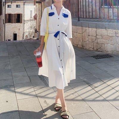 韓国ワンピース❤配色が爽やかな可愛いシャツワンピース 963720