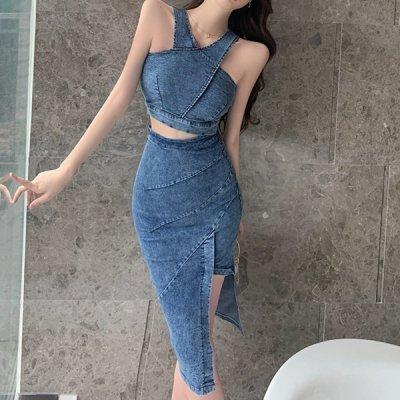 韓国セットアップ❤トップス&アシメスカートの可愛いデニムツーピース 963749