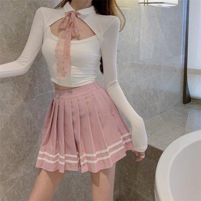 韓国セットアップ❤カットソー&プリーツスカートの可愛いツーピース 963750