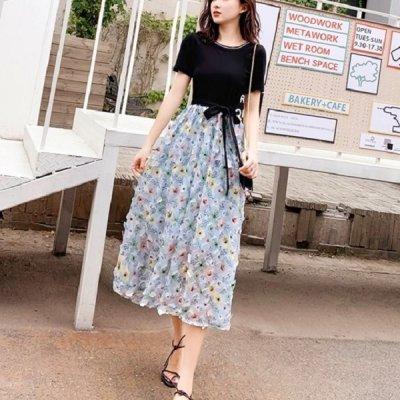 韓国ワンピース❤異素材MIXの可愛いTシャツワンピース 963759