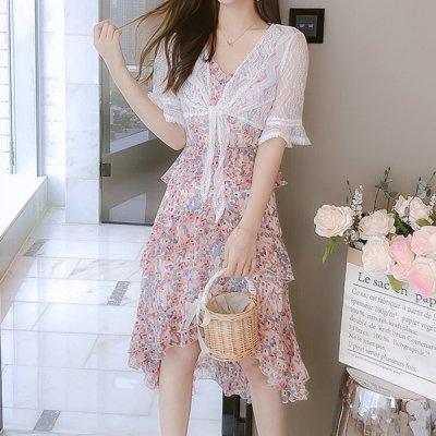 韓国セットアップ❤レースボレロ&花柄キャミワンピの可愛いツーピース 963760