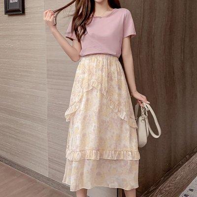 韓国セットアップ❤シンプルTシャツと花柄シフォンスカートの可愛いツーピース 963761