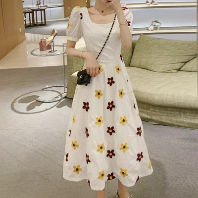 韓国ワンピース❤花柄刺繍が可愛いレトロワンピース 963773