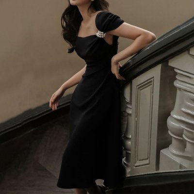 韓国ワンピース❤お袖のパールが可愛いお呼ばれワンピースドレス 963775