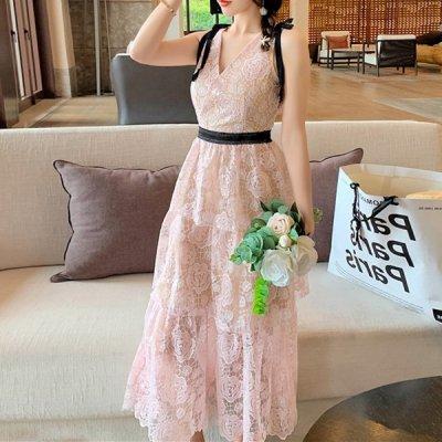 韓国ワンピース❤ピンク×ブラックカラーが可愛い総レースワンピースドレス 963778